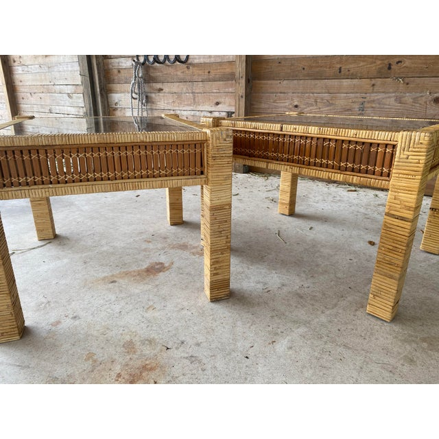 Vintage Wicker Wrapped Bamboo Insert Side Tables - a Pair For Sale - Image 11 of 13