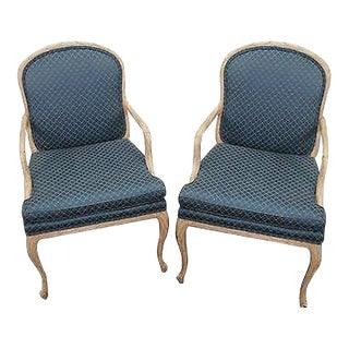 Quality Pair of Faux Naturalistic Carved Arm Chairs (B) For Sale