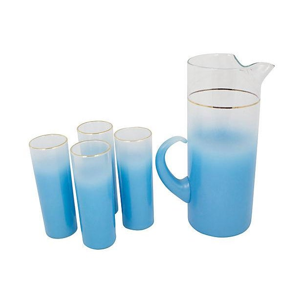 Mid-Century Pitcher With Glasses - Set of 5 For Sale - Image 4 of 4