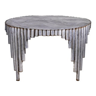 Mid Century All Steel Artist Signed Brutalist Dining Table For Sale