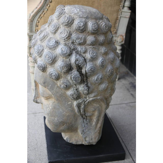 Asian Antique Sandstone Buddha on Steel Base $2,400 For Sale - Image 3 of 7