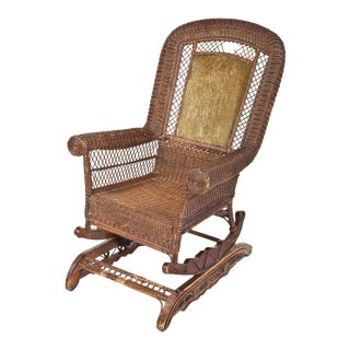 Late-Victorian Platform Wicker Rocking Chair For Sale