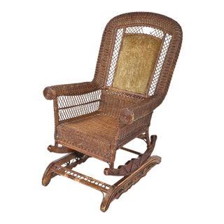 Late-Victorian Platform Wicker Rocking Chair