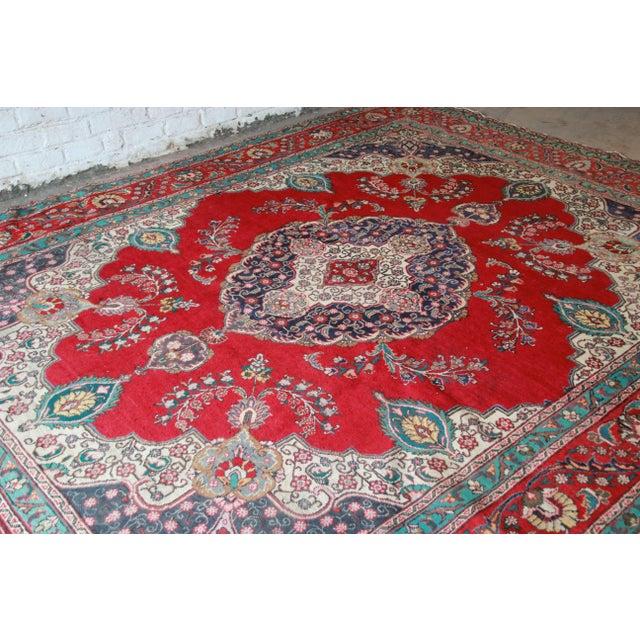 Vintage Hand-Woven Persian Tabriz Rug - 9′10″ × 12′5″ - Image 3 of 8