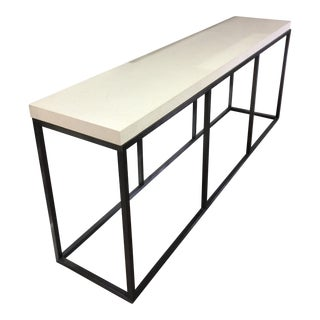 Limestone Topped and Ebonized Axel Console Table
