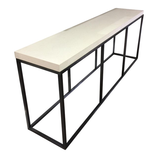 Limestone Topped and Ebonized Axel Console Table For Sale