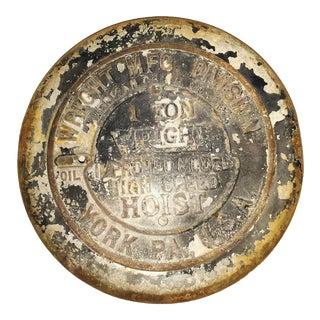 Antique Industrial Cast Iron Hoist Cover
