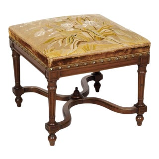 19th Century French Napoleon III Period Walnut Needlework Footstool For Sale