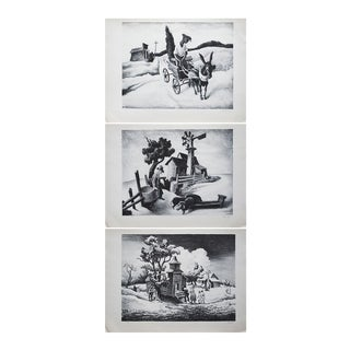1939 American Classical Thomas Benton Photogravures - Set of 3 For Sale