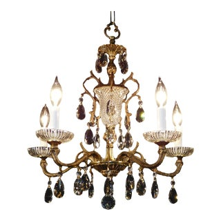 Vintage French 5 Arm 5 Lite Bronze Brass Cut Lead Crystal Glistening Chandelier For Sale
