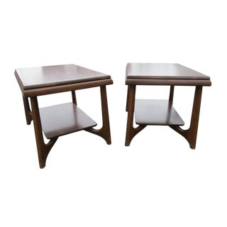 1960s Walnut 2-Tier End Tables - a Pair For Sale