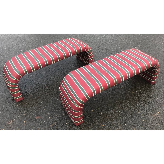 1980s Striped Upholstered Waterfall Benches -A Pair - Image 8 of 8