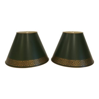 Green Tole Painted Metal With Greek Key Border Lampshades - a Pair For Sale