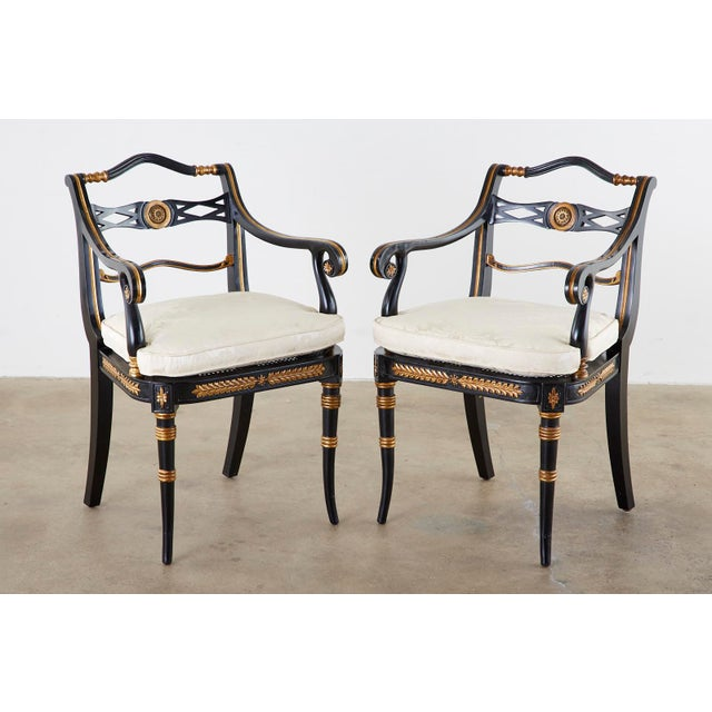 Neoclassical Pair of Regency Style Lacquered Armchairs by Theodore Alexander For Sale - Image 3 of 13