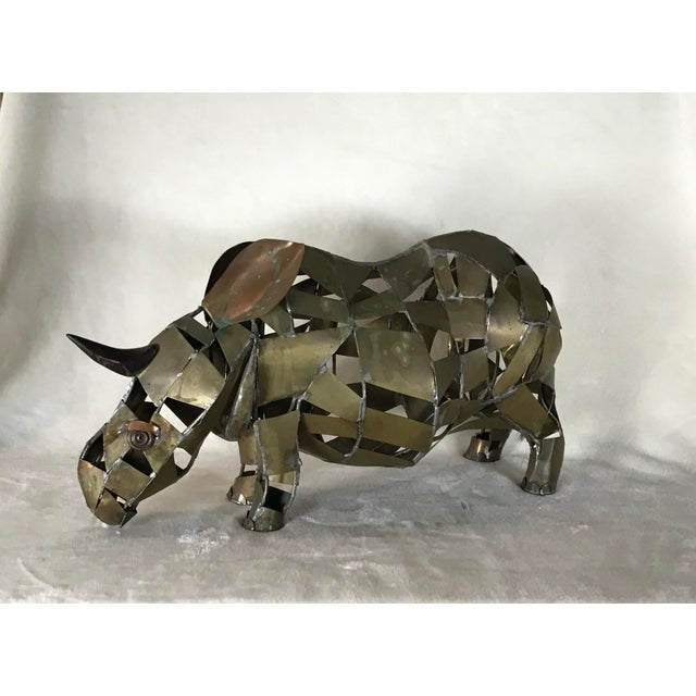 Brutalist Vintage Mid-Century Brutalist Brass Copper Rhino Freestanding Sculpture For Sale - Image 3 of 11
