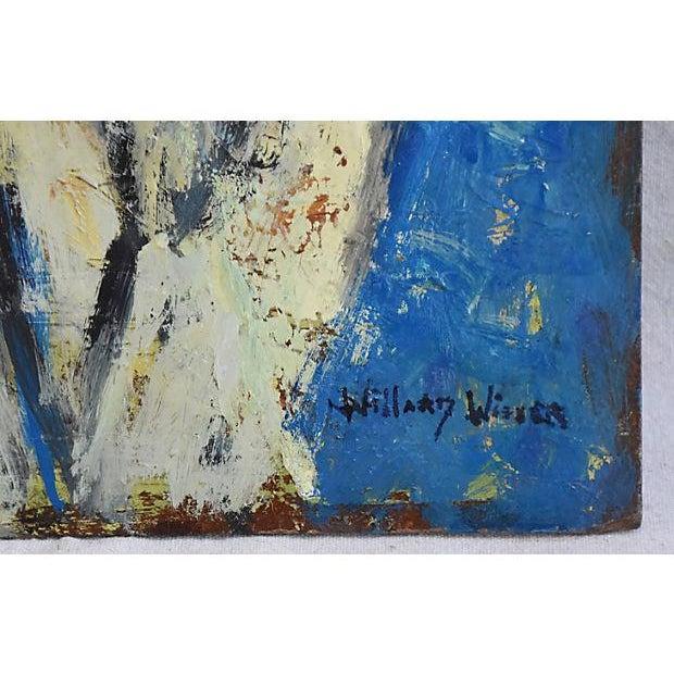 Midcentury Williard Wiener, Abstract Nudes Walking on Beach Oil Painting - Image 4 of 7