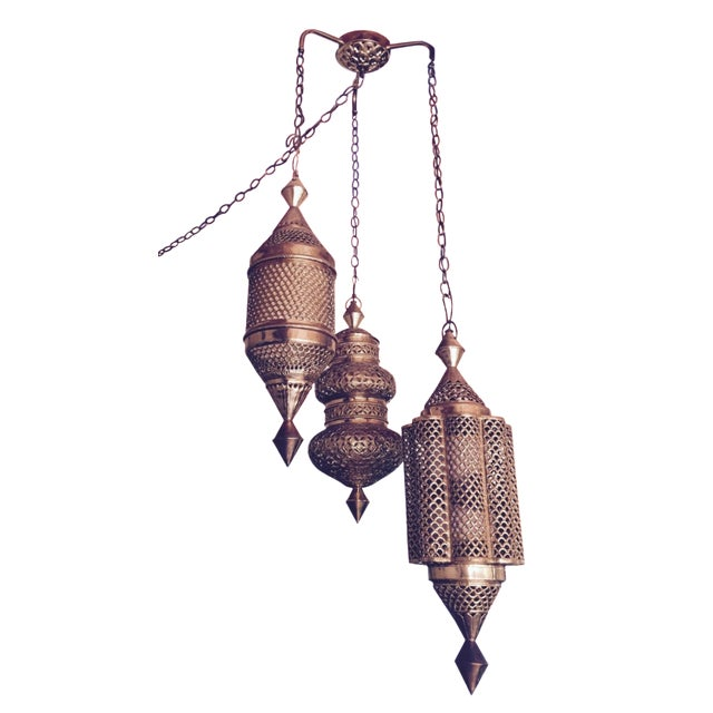 Mid-Century Triple Pendant Brass Chandelier - Image 1 of 5