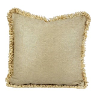 Schumacher Glimmer in Champagne With Matching Uncut Gold Fringe Embellished Pillow Cover For Sale