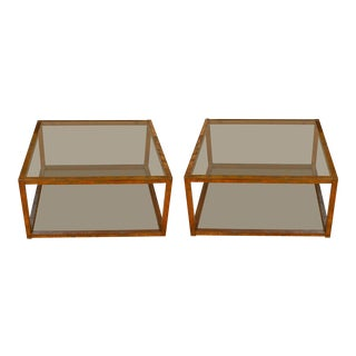 Vintage Brass Square Coffee Tables - A Pair For Sale