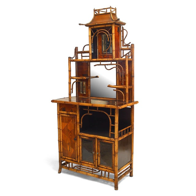 Mid 19th Century Bamboo and Inlaid Étagère With Pagoda Top For Sale - Image 5 of 5