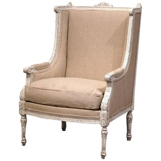 19th Century Louis XVI Carved Painted Bergere Armchair For Sale