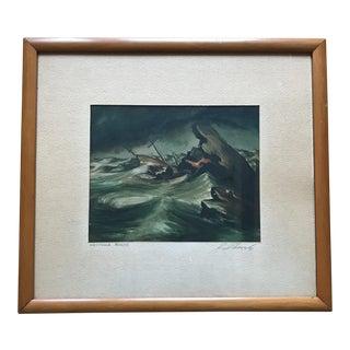 Vintage Seascape Maritime Painting Signed Schon 1941 For Sale