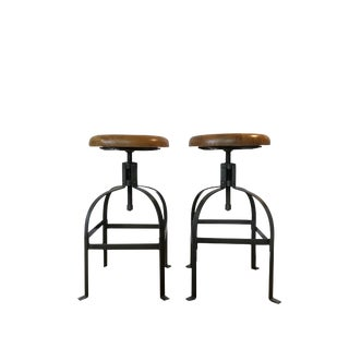 Modern Walnut & Steel Counter Stools - A Pair For Sale