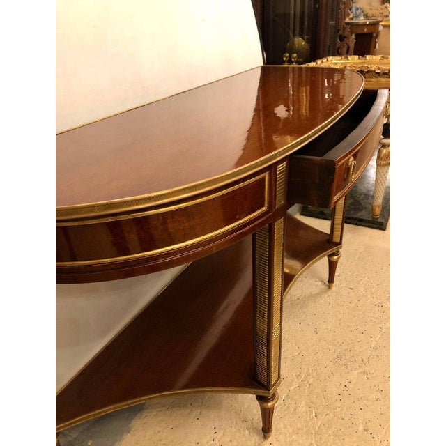 Louis XVI Demilune Mahogany Bronze Mounted Russian Neoclassical Consoles - a Pair For Sale - Image 3 of 10