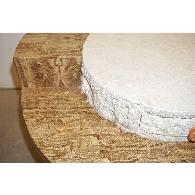1970s Marzio Cecchi Italian Vintage White and Ochre Stone Round Side/Sofa Table For Sale - Image 9 of 12