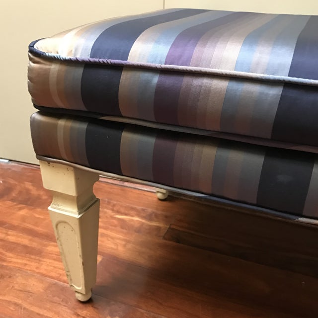 Mid-Century Silk Striped Bench - Image 5 of 6