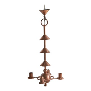 French Post Modern Style Copper Chandelier For Sale