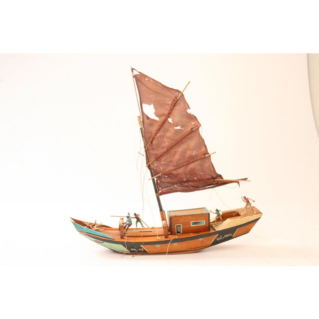 Old Fishing Boats On Beach: Vintage Folk Art Fishing Boat From Vietnam
