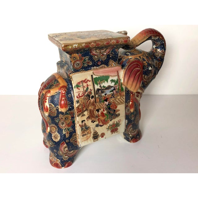 Asian Vintage Ceramic Elephant Plant Stand For Sale - Image 3 of 7