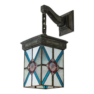 Blue, White & Deep Red Stained Glass & Bronze Lantern Sconce For Sale
