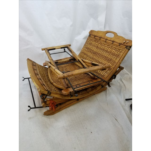Vintage Rattan Sling Chair With Ottoman For Sale - Image 7 of 8