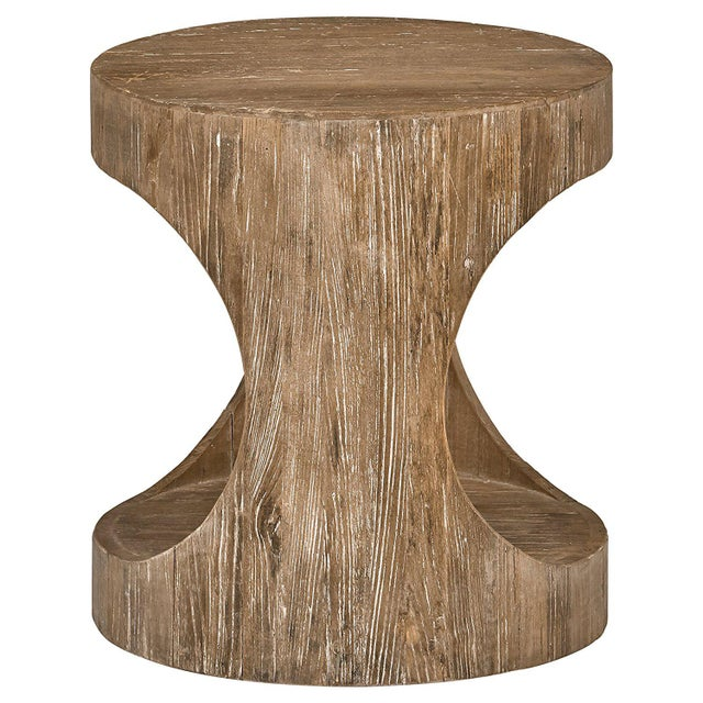 Beautiful texture and grain, combined with clever modern side openings, give this end table the appearance of a hollowed-...