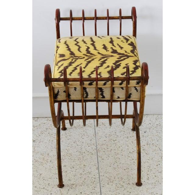 Mid 20th Century Scalamandre Velvet Tiger Hollywood Glam Italian Gilt Vanity Bench For Sale - Image 5 of 13
