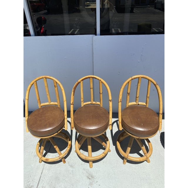Real Bamboo Counter Stools With Twist Legs Set of Three For Sale - Image 12 of 13