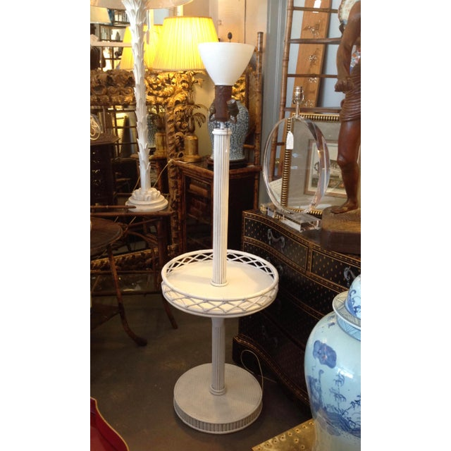 1930s Pencil Reed Floor Lamp Table For Sale - Image 4 of 13