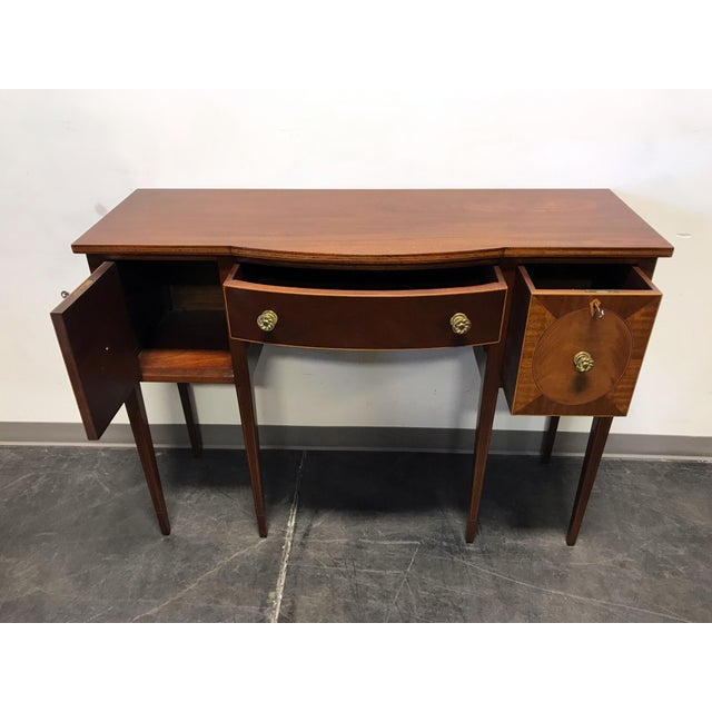 Late 19th Century Inlaid Mahogany Walnut Satinwood Bow Front Sideboard / Console - Image 5 of 11