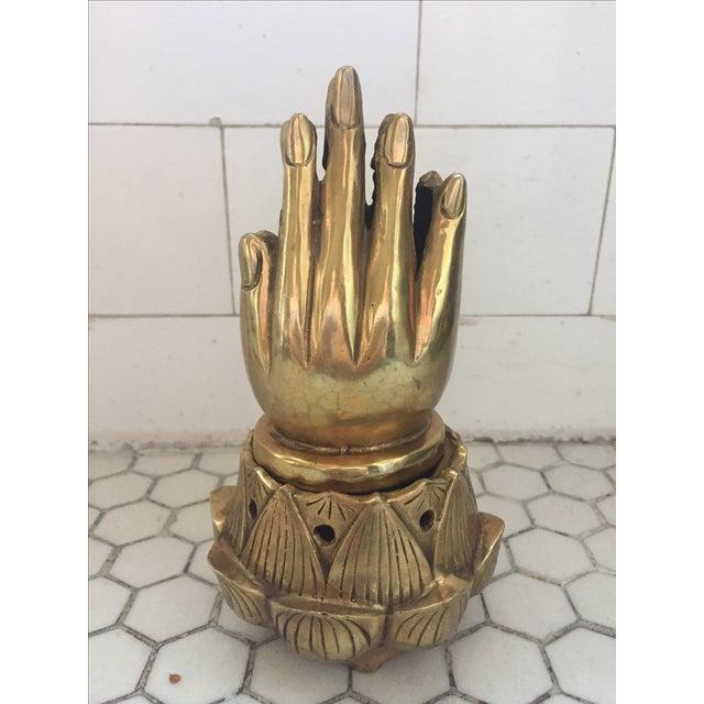 Hands on Lotus Brass Incense Burner - Image 2 of 8