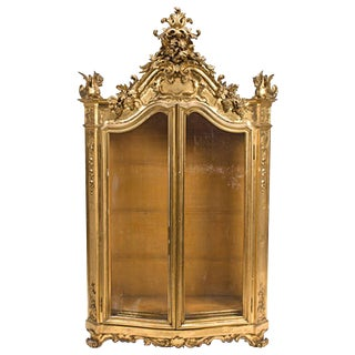Italian Rococo Style Giltwood Vitrine Cabinet, 19th Century For Sale