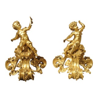 Antique Bronze Dore Cherub Chenets From France, 19th Century - a Pair For Sale