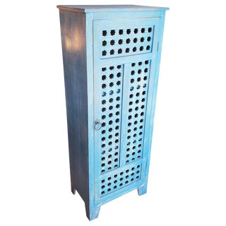 Moroccan Blue Carved Storage Cabinet For Sale
