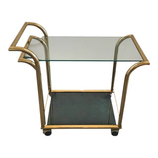 Mid Century Modern Design Institute America Art Deco Style 2 Tier Brass & Glass Bar Cart