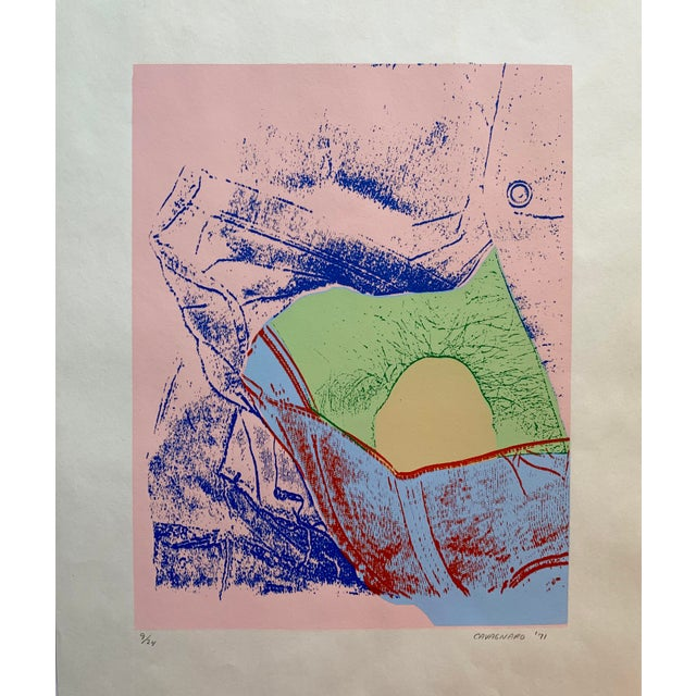 Vintage abstract serigraph, circa 1971. Dominant color is pink, with shades of green, blue, yellow and orange. Artist...