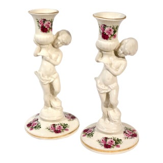 Pair of Vintage Ceramic Porcelain Cherub Candlestick 1960's Maryleigh Pottery For Sale