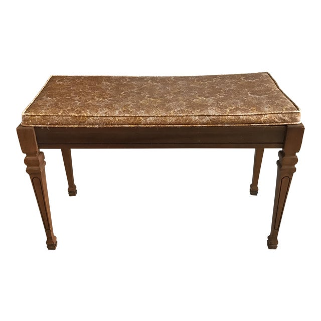 Mid-Century Piano Bench Storage Stool For Sale