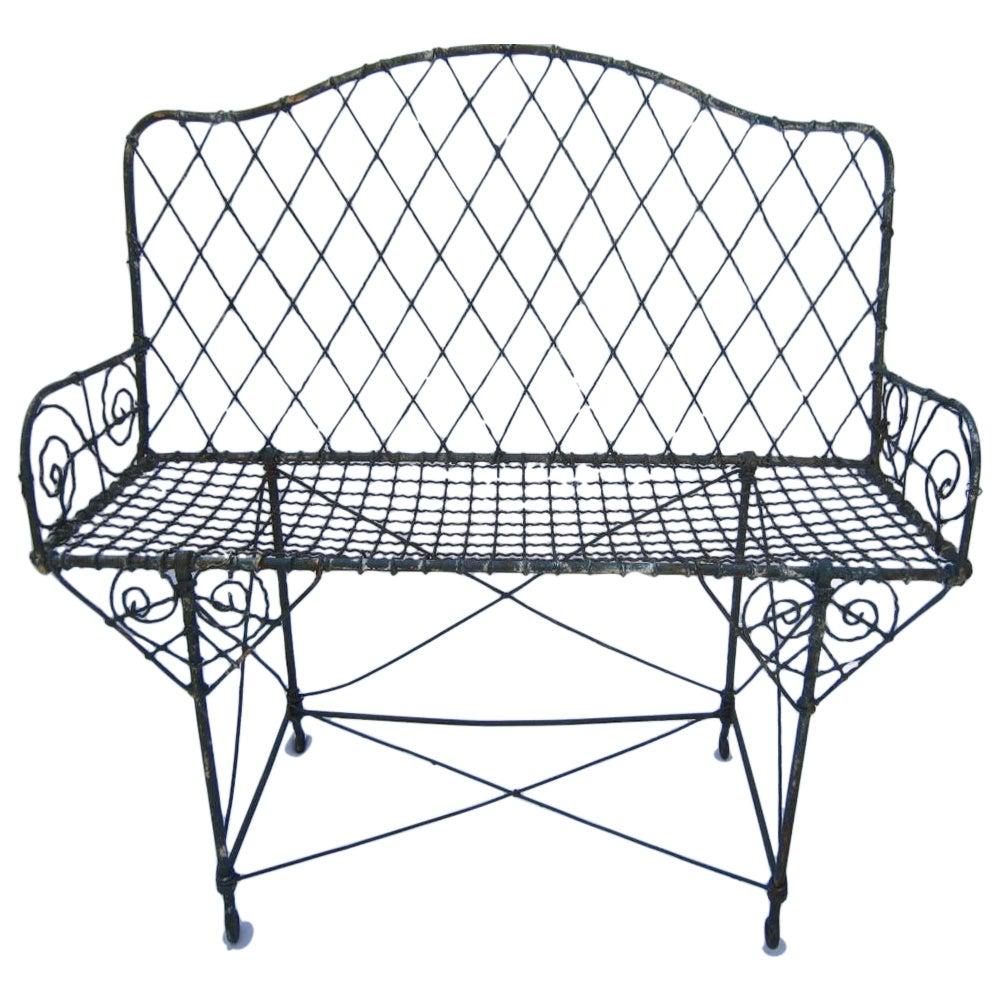 Victorian Wire Garden Bench | Chairish