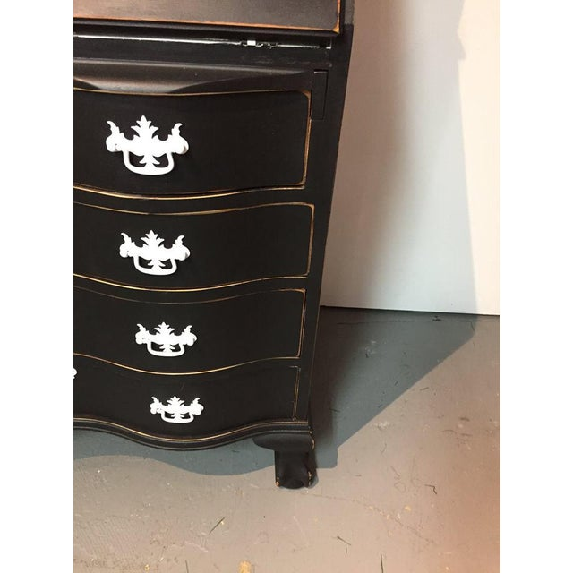 Glass 1950s Traditional Black Secretary Desk with China Cabinet Hutch For Sale - Image 7 of 10